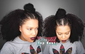 2 braids in front hair down hairstyle long natural hair samurai braided top knot for curly hair half up half down