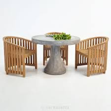 Round Teak Table And Chairs Round Concrete Table W Teak Tub Chair Outdoor Dining Set Teak