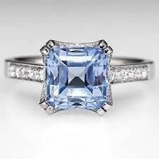 light blue sapphire ring square light blue sapphire engagement ring w diamonds 18k white