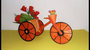 diy bicycle using cd and popsicle stick best out of waste