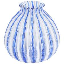 white blue ribbon murano blue ribbon and white stripe italian glass vase for sale