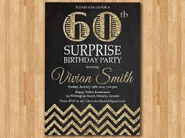 60th birthday invitation gold glitter chevron birthday party
