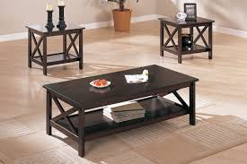 3 piece coffee table set contemporary dark walnut finish