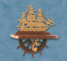 Wood Boat Shelf Plans by Sailing Ship Shelf Scroll Saw Pattern Ship Wall Shelf Diy