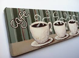Coffee Themed Kitchen Canisters Coffee Trio 4x12 Small Original Bistro Paintings On Canvas