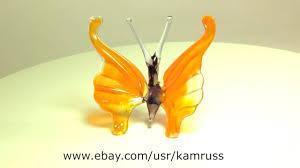 blown glass murano butterfly orange handmade figurine