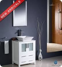 Vanities For Bathrooms 24 Fresca Torino Fvn6224wh Vsl Modern Bathroom Vanity W Vessel
