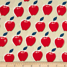 cotton steel picnic apples red discount designer fabric