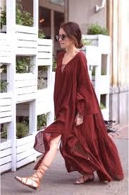 h u0026m trend red brick rust wide long cotton maxi dress boho hippie