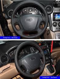 kia steering wheel black leather car steering wheel cover for kia carens 2007 2011