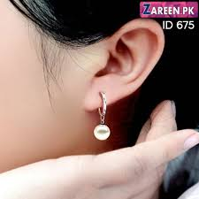 korean earings korean pearl and silver earrings zareen675 zareen pk