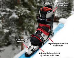 this attachment allows you to go skiing in snowboard boots