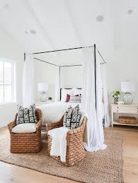 Iron Canopy Bed Iron Canopy Bed With Headboard And White Sheer Panels Cottage