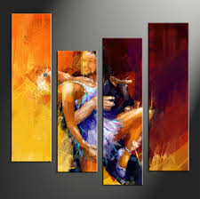 4 piece canvas abstract colorful oil painting decor
