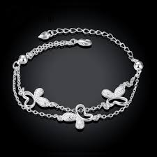 silver plated bracelet chain images Butterfly charm bracelet latest women classy design silver plated jpg