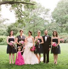 black and pink bridal party dresses elizabeth anne designs