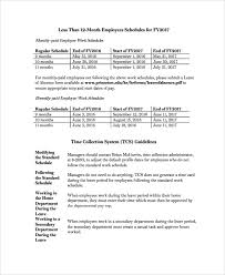 sample employee work schedule template 8 free documents