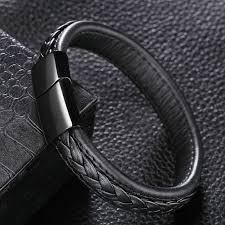 stainless steel cuff bracelet images Black brown genuine leather bracelet men stainless steel cuff jpg