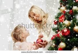 Mother Daughter Christmas Ornaments Mother Daughter Decorating Christmas Tree Having Stock Photo