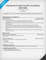 the best insurance specialist resume sample recentresumes com