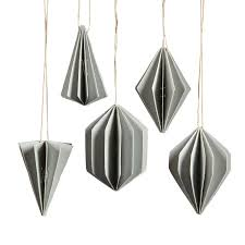 grey geometric paper ornament assortment of 5 by homart seven
