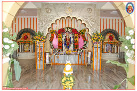 Home Temple Decoration by 3rd Anniversary Celebrations At Tumkur Shirdi Sri Sai Baba Dwaraka