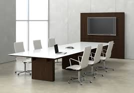 Modern Meeting Table Glass Top Rectangle Conference Table With Presentation Wall
