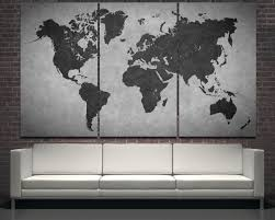 World Map Wall Sticker by Large Black Modern World Map Wall Art Print Decor On Canvas