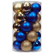 shop for the 70mm blue gold shatterproof ornaments by