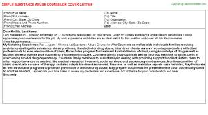 Sample Resume For Drug And Alcohol Counselor by Substance Abuse Counselor Cover Letter
