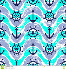 Nautical Theme Vector Seamless Pattern Steering Wheel Life Preserver Anchor