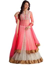 party wear gowns buy pink net embroidered semi stitiched party wear gowns online