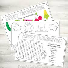 printable thanksgiving placemats from abcs to acts
