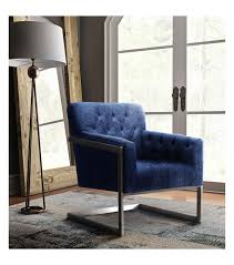 Blue Accent Chair Blue Velvet Brushed Metal Frame Accent Chair