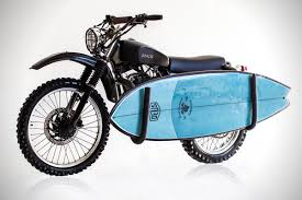 this custom deus ex machina bike comes with a matching surfboard