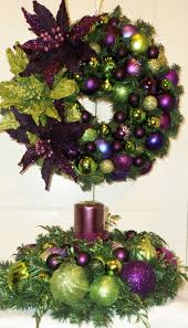 purple lime green christmas table centerpiece purple or lime green