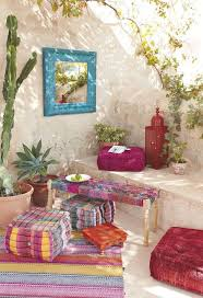 boho sitting area with a fantastic purple carpet boho living