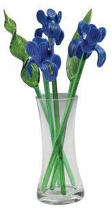 Vase With Irises Glass Flowers Iris Kremp Com
