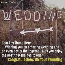 wedding wishes name wedding congratulations message with name