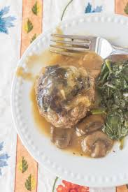 southern style hamburger steaks with onion mushroom gravy syrup