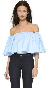 light blue off the shoulder top lyst nicholas off shoulder top blue in blue