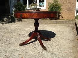 vintage 1950 u0027s flame mahogany drum table with leather top sold on