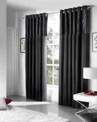 Savoy Ready Made Eyelet Curtains Fully Lined Black Cream Red