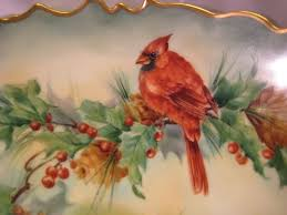 gorgeous christmas holly berries cardinal birds antique tv limoges