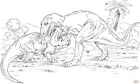gorgosaurus vs monoclonius coloring page free printable