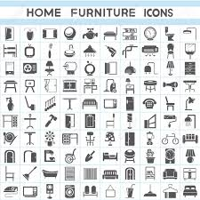 furniture icons set interior design collections royalty free