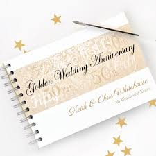 50th anniversary guest book personalized personalised golden wedding anniversary by amandahancocksbooks