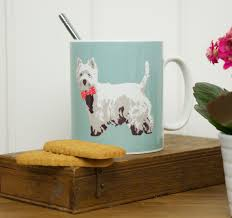 westie bow tie mug by betty boyns made in the uk