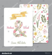 Editable Wedding Invitation Cards Set Floral Greeting Cards Wedding Invitations Stock Vector