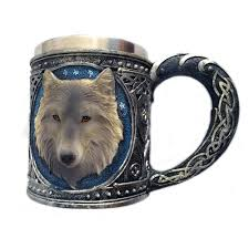 creative 3d stainless steel mug wolf head